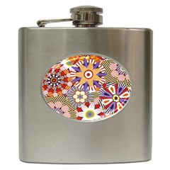 Flower Floral Sunflower Rainbow Frame Hip Flask (6 oz)
