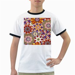Flower Floral Sunflower Rainbow Frame Ringer T-Shirts