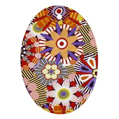 Flower Floral Sunflower Rainbow Frame Oval Ornament (Two Sides)