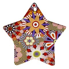 Flower Floral Sunflower Rainbow Frame Star Ornament (two Sides)