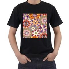 Flower Floral Sunflower Rainbow Frame Men s T-Shirt (Black)