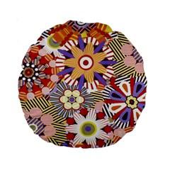 Flower Floral Sunflower Rainbow Frame Standard 15  Premium Round Cushions