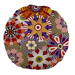 Flower Floral Sunflower Rainbow Frame Large 18  Premium Round Cushions