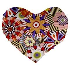Flower Floral Sunflower Rainbow Frame Large 19  Premium Heart Shape Cushions