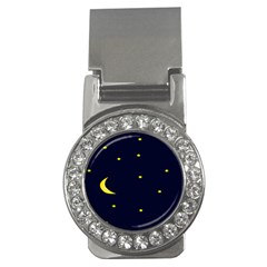 Moon Dark Night Blue Sky Full Stars Light Yellow Money Clips (CZ)