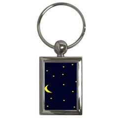 Moon Dark Night Blue Sky Full Stars Light Yellow Key Chains (rectangle)