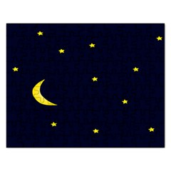 Moon Dark Night Blue Sky Full Stars Light Yellow Rectangular Jigsaw Puzzl