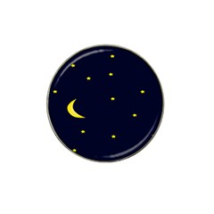 Moon Dark Night Blue Sky Full Stars Light Yellow Hat Clip Ball Marker (10 Pack)