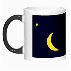 Moon Dark Night Blue Sky Full Stars Light Yellow Morph Mugs