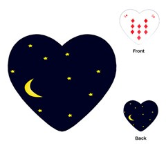 Moon Dark Night Blue Sky Full Stars Light Yellow Playing Cards (Heart)