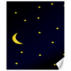 Moon Dark Night Blue Sky Full Stars Light Yellow Canvas 20  x 24