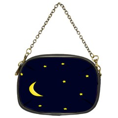 Moon Dark Night Blue Sky Full Stars Light Yellow Chain Purses (Two Sides)