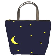 Moon Dark Night Blue Sky Full Stars Light Yellow Bucket Bags
