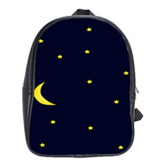Moon Dark Night Blue Sky Full Stars Light Yellow School Bags(Large)