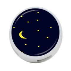 Moon Dark Night Blue Sky Full Stars Light Yellow 4-Port USB Hub (Two Sides)