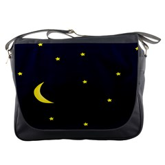 Moon Dark Night Blue Sky Full Stars Light Yellow Messenger Bags