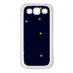 Moon Dark Night Blue Sky Full Stars Light Yellow Samsung Galaxy S3 Back Case (White)