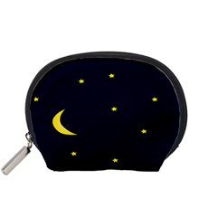 Moon Dark Night Blue Sky Full Stars Light Yellow Accessory Pouches (Small)