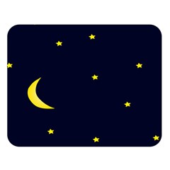 Moon Dark Night Blue Sky Full Stars Light Yellow Double Sided Flano Blanket (Large)