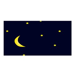 Moon Dark Night Blue Sky Full Stars Light Yellow Satin Shawl