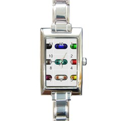 9 Power Button Rectangle Italian Charm Watch