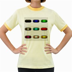 9 Power Button Women s Fitted Ringer T-Shirts