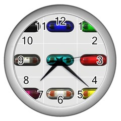 9 Power Button Wall Clocks (Silver)