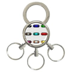 9 Power Button 3-Ring Key Chains