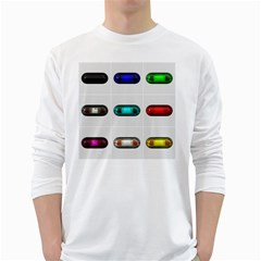 9 Power Button White Long Sleeve T Shirts