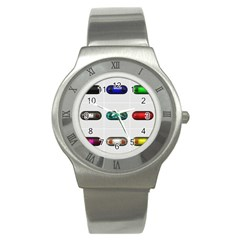 9 Power Button Stainless Steel Watch