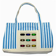 9 Power Button Striped Blue Tote Bag