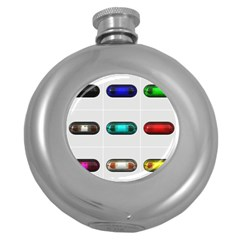 9 Power Button Round Hip Flask (5 oz)