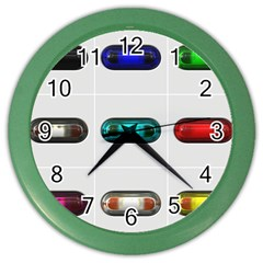 9 Power Button Color Wall Clocks