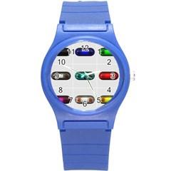 9 Power Button Round Plastic Sport Watch (S)