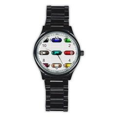 9 Power Button Stainless Steel Round Watch