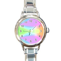 Abstract Background Colorful Round Italian Charm Watch