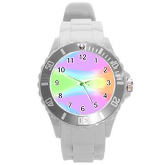 Abstract Background Colorful Round Plastic Sport Watch (L)