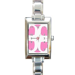 Love Heart Valentine Pink White Sweet Rectangle Italian Charm Watch