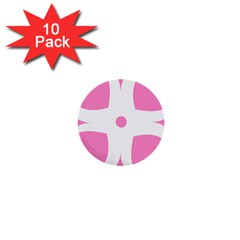 Love Heart Valentine Pink White Sweet 1  Mini Buttons (10 pack)