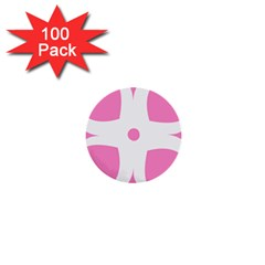 Love Heart Valentine Pink White Sweet 1  Mini Buttons (100 Pack)