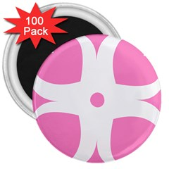 Love Heart Valentine Pink White Sweet 3  Magnets (100 Pack)