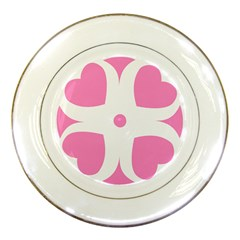 Love Heart Valentine Pink White Sweet Porcelain Plates