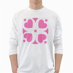 Love Heart Valentine Pink White Sweet White Long Sleeve T-Shirts