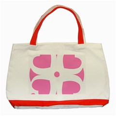 Love Heart Valentine Pink White Sweet Classic Tote Bag (red)
