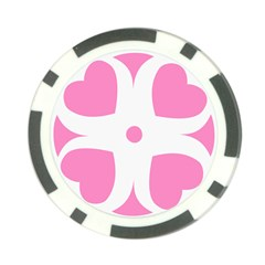Love Heart Valentine Pink White Sweet Poker Chip Card Guard (10 pack)