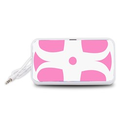 Love Heart Valentine Pink White Sweet Portable Speaker (White)