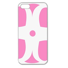 Love Heart Valentine Pink White Sweet Apple Seamless iPhone 5 Case (Clear)