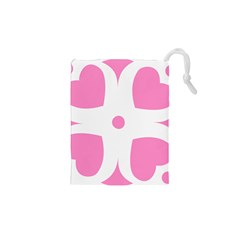 Love Heart Valentine Pink White Sweet Drawstring Pouches (XS)