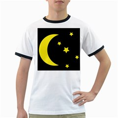 Moon Star Light Black Night Yellow Ringer T-Shirts