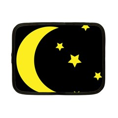 Moon Star Light Black Night Yellow Netbook Case (Small)